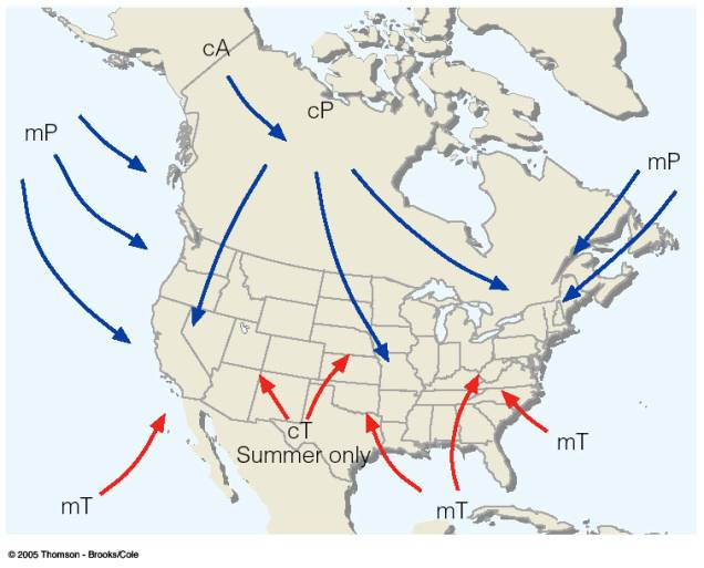 Fronts Lab - Air masses map of us hot dry cool moist